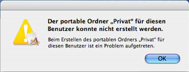 Fehler portabler Ordner Privat